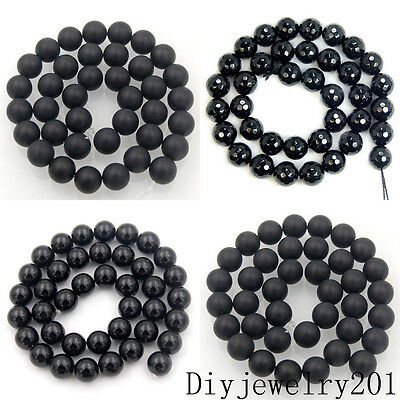 Matte Frosted Smooth Faceted Black Onyx Gemstone Round Beads Jewelry 15.5""