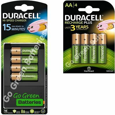 Duracell 15 Min AA/AAA Fast Charger + 8 AA 1300 mAh Rechargeable Batteries CEF15