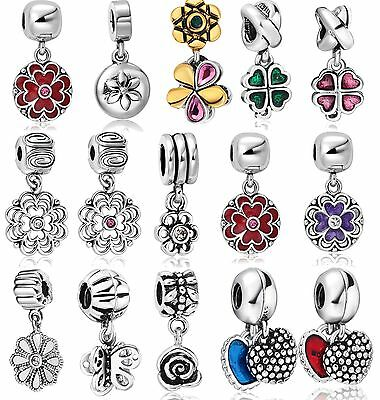 DIY Flower Theme European Charms For 925 Silver Bracelets Chain Women Jewelry