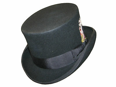 Derby Black  Wool Top Hat With  Head Band and Satin Lining 4 Sizes
