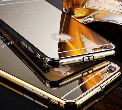 Shockproof Metal Bumper Glossy Mirror/Clear Case Cover Skin for iPhone 6 6S Plus