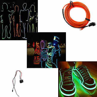1m red neon El wire rope flexible led glow 3V controller car party decoration