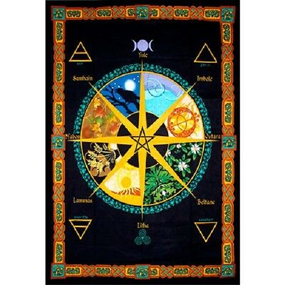 "Pagan Calendar Year Tapestry 52 x 76"" Wiccan Pagan Altar Supply Decor"