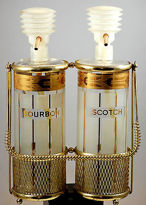 Mid Century Gold Bar Ware Double Decanter With Pump And Caddy