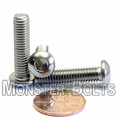 M6 x 25mm - Qty 10 - A2 Stainless Steel BUTTON HEAD Socket Cap Screws - ISO 7380