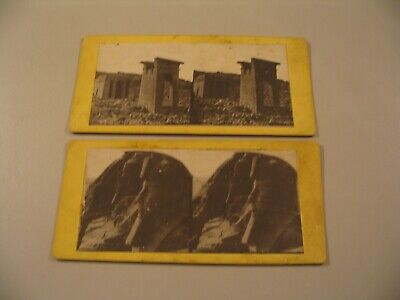 (2) Egypt Thebes Nubia Temple Ab00-Simbel Dendoor Stereoview cdii