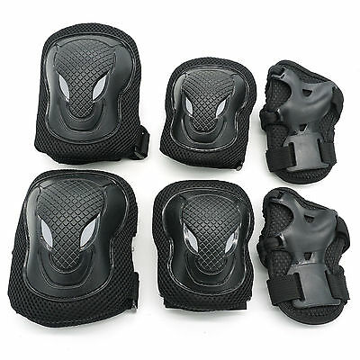 6X Black L Size Wrist Elbow Knee Pads Protective Skateboard Roller Cycling Adult