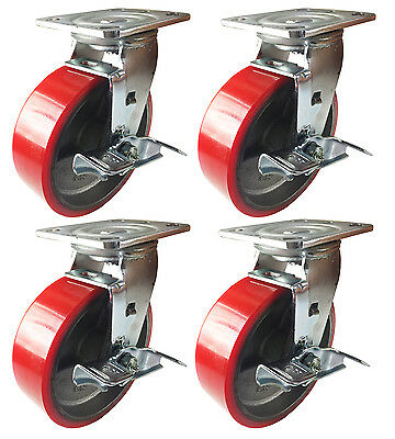 """6"""" x 2""""  Polyurethane on Cast Iron (Red) - 4 Swivels with Brake"""