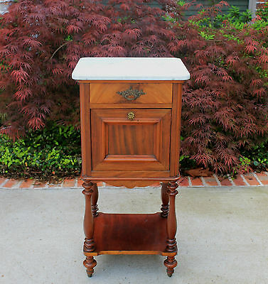 Antique French Mahogany Marble Top Side Cabinet Lamp End Table Nightstand