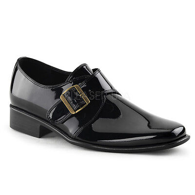 LOA12/B Mens Basic Shiny Black Monk Strap Buckle Loafers Halloween Costume Shoes