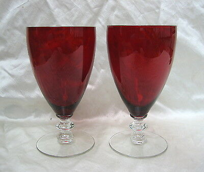 2 Morgantown Radiant 7685 Ruby Water Goblets