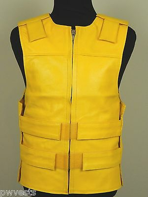 Unisex Yellow Leather - Bulletproof Style Motorcycle Vest - PWVests