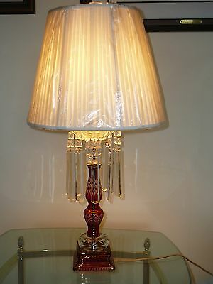 Table Lamp Ruby Red Cut to Clear Glass Vintage  Mirror Crystal Prisms