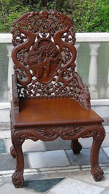 ANTIQUE 19c CHINESE TEAK WOOD CARVED HIGH RELIEF DRAGON DECORATION THRONE,CHAIR