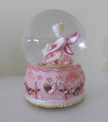 Stunning Large Pink Ballerina Fairy Musical Snow Globe Glitter Hearts Water Ball