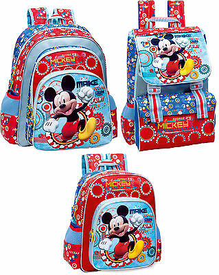 Mickey Mouse Blue Red Backpack Official Rucksack Disney Nursery Set School 2015