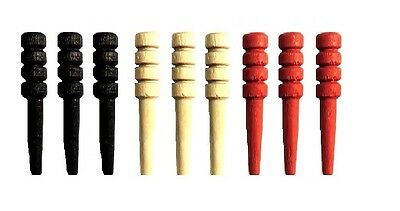 NEW Set of 9 Wood Cribbage Pegs  - Standard Size in Black - Natural - Red