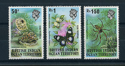 British Indian Ocean Territory 1973. Wildlife. Complete set of 3. MLH. Og.