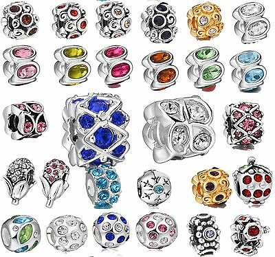 925 Sterling Silver Genuine Crystals Round Bead Fit New European Charm Bracelet