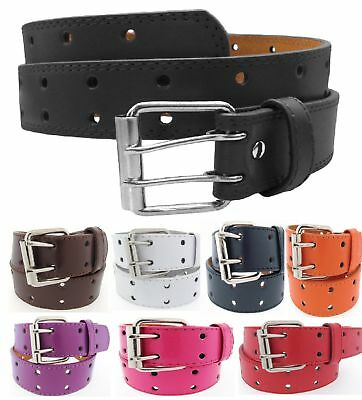 Mens Womens 2 Double Holes Dress Casual Leather Belt 2 Prong S/M/L/XL BIG&TALL