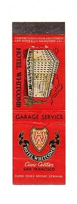 Vintage HOTEL WHITCOMB San Francisco CA Unused Front Strike Matchcover