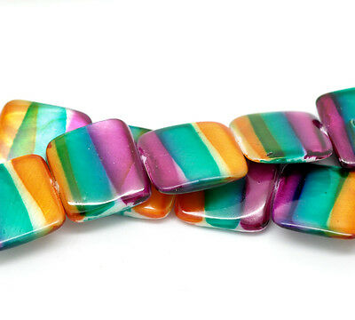 1Strand(20PCs) Multicolor Square Straip Shell Loose Beads 20x20mm 39cm B18571