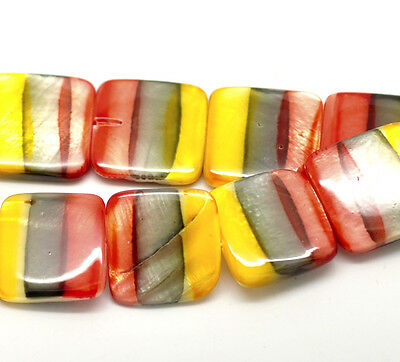 1Strand(20PCs) Multicolor Square Straip Shell Loose Beads 20x20mm 39cm B18199