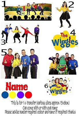 IRON ON TRANSFER 1 x PERSONALISED WITH ANY FIRST NAME WIGGLES EMMA LACHIE SIMON