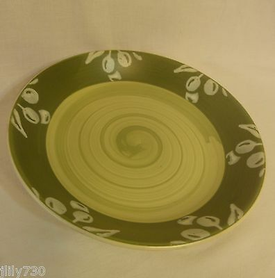 Villa Romana Pasta Bowls Made in Italy Hand Painted Green Band Olives Set of 4