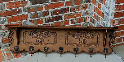 Antique French Country Oak Wall Shelf Coat Hat Copper Pot Rack Lion's Mask Hooks