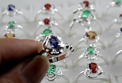 New Fashion 925 Silver Colorful CZ Women Band Ring SZ 6-8 5pcs lot mixed Size