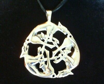 Circle of Wolves Bronze Pendant Leather Necklace! New Viking Thor Odin Norse