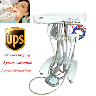 Dental Portable Delivery Unit Mobile Cart+Handpiece Tube ultrasonic scaler USA