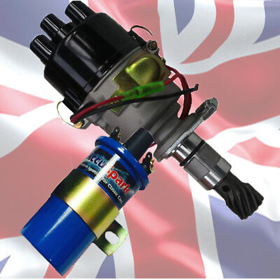 Non Vacuum 43D Electronic ignition Distributor For Ford Cross Flow + Sports Coil