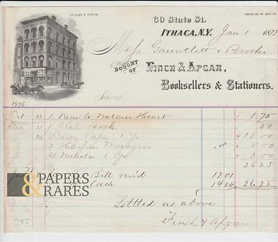 Invoice; Ithaca, New York, 1877, Finch & Apcar, Booksellers & Stationers,