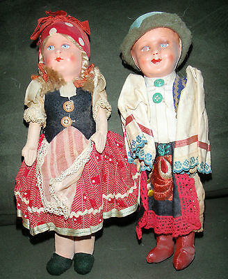 Doll Set Boy and Girl from Hungary Pre 1940 Papier Mache Head With Fabric Body