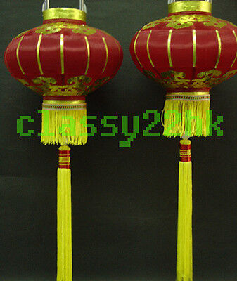 Pair of 2 pcs 12 in Dia Chinese Red Silk Lantern for New Year Festival celebrate