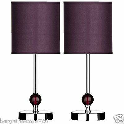 Pair of Purple Shade Arcylic Ball Bedside Chrome Finish Bedroom 2 Table Lamps