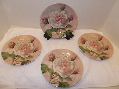 """Set of Four 8"""" Pink Antique Rose Crackle Look Plate"""