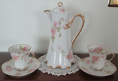 Haviland Chocolate pot and 2 chocolate cups and saucers Wild Roses #59