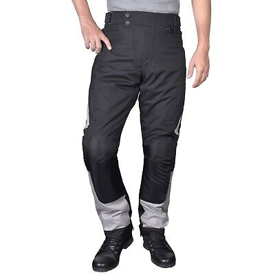 Motorcycle Waterproof Race Pants Black with Removable CE Armor Black/Grey PT4