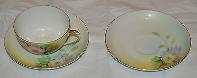 Vintage,meito,bone China Tea Cup&saucer,gold Trim,beautiful Delicate Flowers