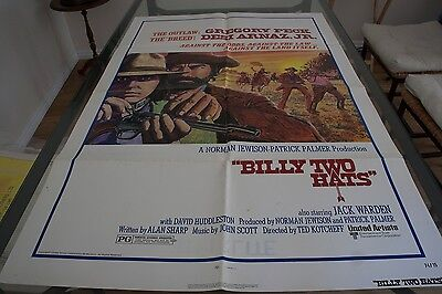 """ORIGINAL """"BILLY TWO HATS"""" 1974 US 1 SHEET POSTER - GREGORY PECK CLASSIC!"""