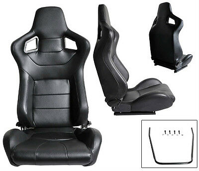 2 Black Pvc Leather Reclinable Racing Seats For All Acura