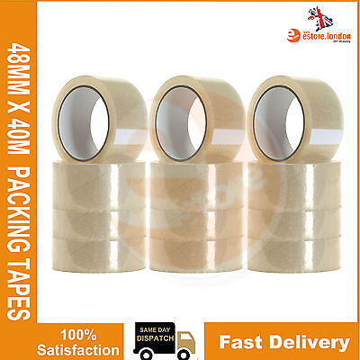 12 X Roll Clear Packaging Tape Packing Sello Parcel Tapes 48Mm X 40M New