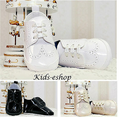 Baby Boys White Black Beige Pram Shoes Christening Wedding Smart Formal Party