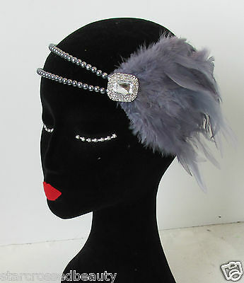 Silver Charcoal Dark Grey Feather Headpiece Flapper 1920s Pearl Headband N63