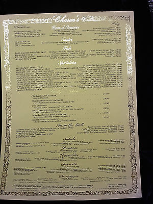 Chasen's-  menu - restaurant to the rich and famous in West Hollywood