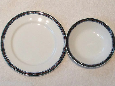 "❤ Dudson Fine China Stoke on Trent England 4 ¾"" Bowl  6 ⅜"" Plate Mosaic Pattern❤"