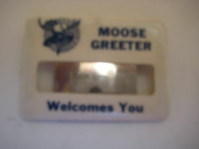 Moose Greeter clip on badge
